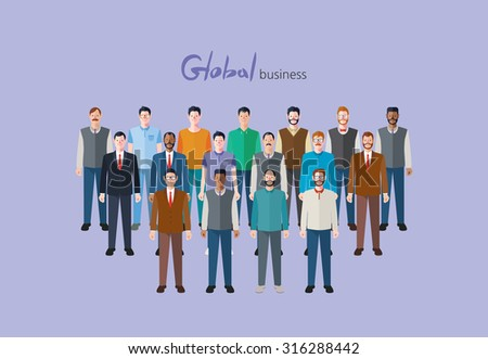 Minimal flat character of global business concept illustrations