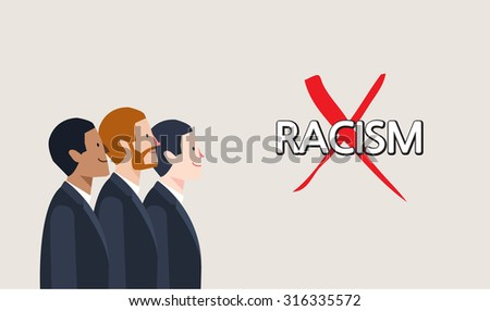Minimal flat character of racism concept illustrations - stock vector