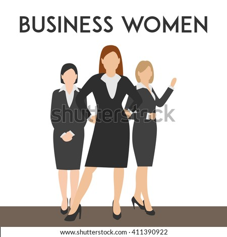 Minimal flat vector illustration business women silhouettes walk step forward full length over white background. Business woman in costume different poses with copy space for text.  - stock vector