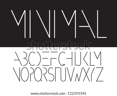 Minimal Font Symbol Icon Alphabet A through Z Vector - stock vector