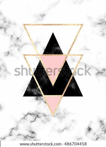 Minimal Geometric Marble Background Gold Black Vector De