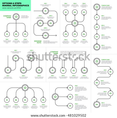 Minimal Infographics Workflow Template Text Options Stock Photo - Unique outline template for presentation concept