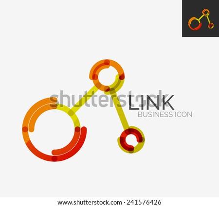 Minimal line design logo, business connection icon, branding emblem - stock vector