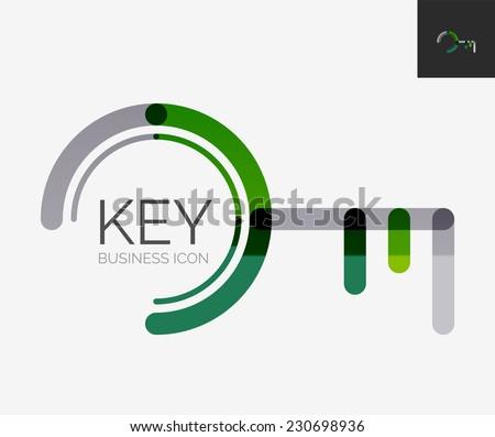 Minimal line design logo, business key icon, branding emblem - stock vector