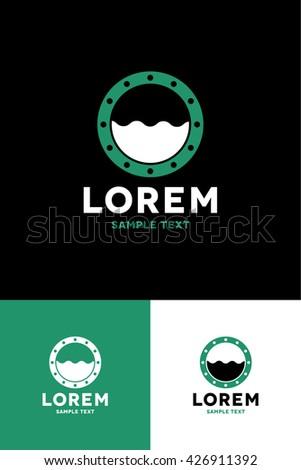 Minimal Logo - Underwater  - stock vector