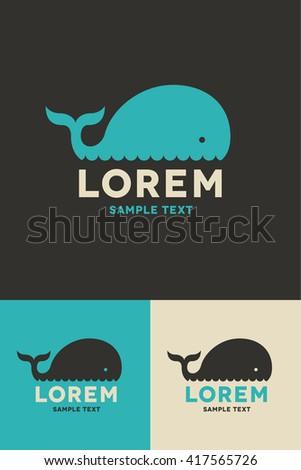 Minimal Logo - Whale - stock vector