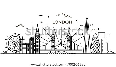 Minimal London City Linear Skyline Line Stock Vector ... | 450 x 260 jpeg 26kB