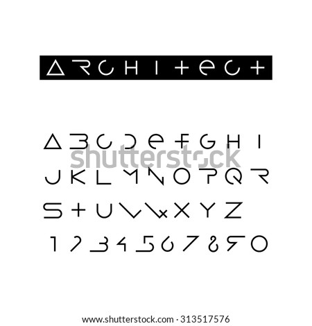 Minimal outline font. Latin alphabet with numbers. Fully editable vector design template. Black line letters. Design typeface.  - stock vector