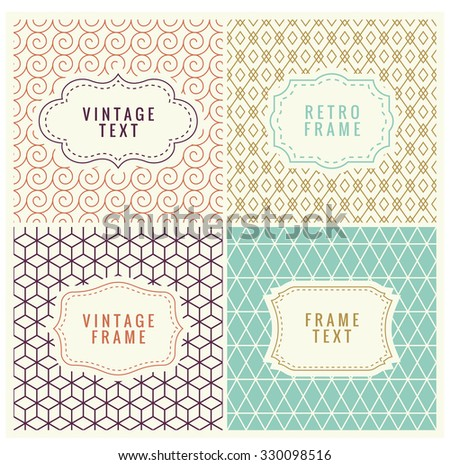 Minimal Pattern Background. Retro Mono Line Frames with place for Text. Vector Design Template, Labels, Badges on Seamless Geometric Patterns.  - stock vector
