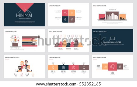 minimal presentation slide templates business brochures stock, Powerpoint templates