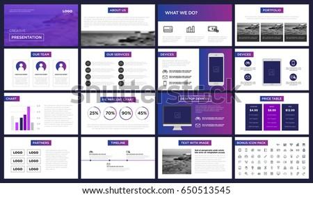 minimal purple blue presentation template you stock vector, Presentation templates
