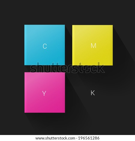 Minimal scalable CMYK squares with long shadow for print, presentation, brochure design