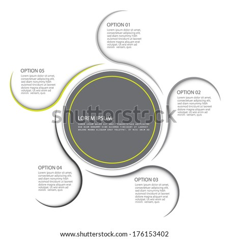 Minimal style infographic template, five options - stock vector