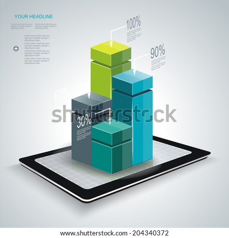 Minimal style infographic template with Tablet PC. Can be used for diagram, numbered banners, percent columns.  - stock vector