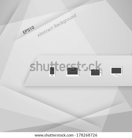 Minimal textured abstract geometric background illustration with cloud computing icon set for web page banner, layout, infographic - grey version - stock vector