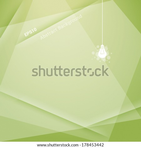 Minimal textured abstract geometric background illustration with light bulb for web page banner, layout, infographic - green version - stock vector