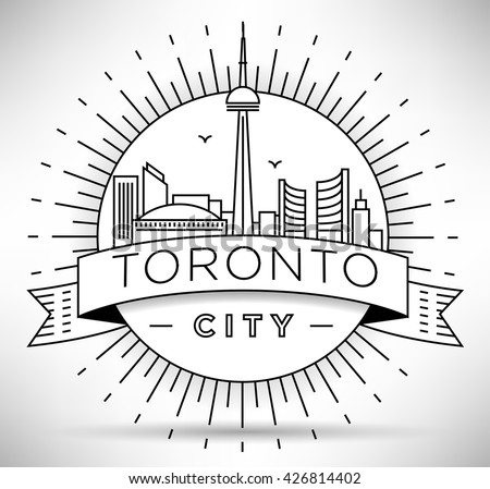 Minimal Toronto City Linear Skyline with Typographic Design - stock vector