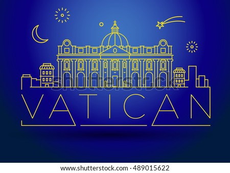 Minimal Vatican City Linear Skyline with Typographic Design