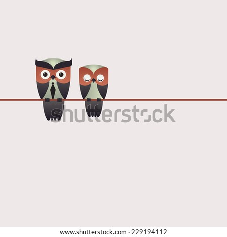 Minimal Vector backgrounds with couple of owls on the branch  - stock vector