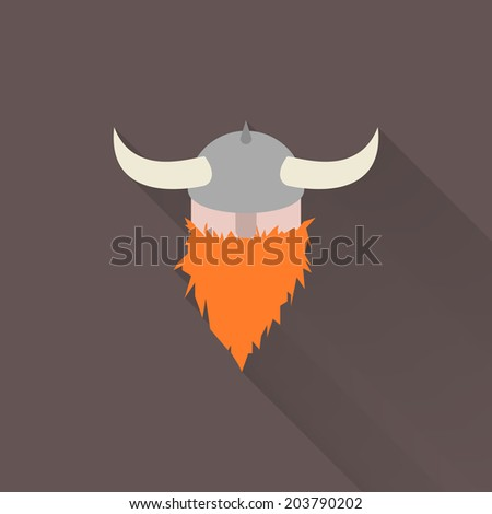 Minimal viking character, with long shadow. Man, with horned helmet, and red beard. Flat design. Cartoon concept. Easy to edit. Vector illustration - EPS10. - stock vector