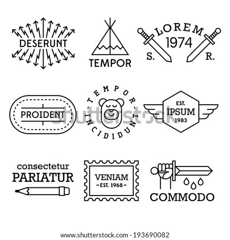 minimal vintage labels with king, shield, cow - stock vector