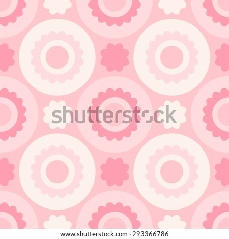 Minimalictic romantic pattern (circles and flowerss). Pastel pink tints. Endless texture can be used for children's or wedding design, wallpaper, web background, wrapping, packaging etc. - stock vector