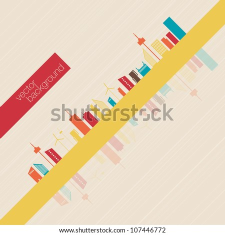 Minimalist Colorful panorama city background | EPS10 Design - stock vector