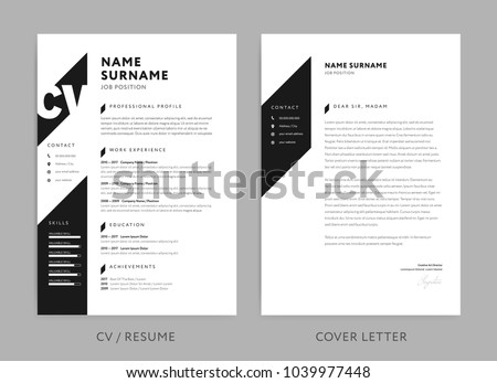 Minimalist Cv Resume Cover Letter Minimal Stock Vector 1039977448