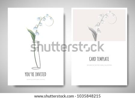 Invitation Card Sample Design. Minimalist greeting invitation card template design  lily of the valley flower in simple line Greetinginvitation Card Template Design Lily Stock