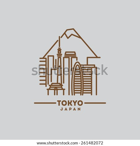 minimalist icon of Tokyo Japan flat one line style - stock vector
