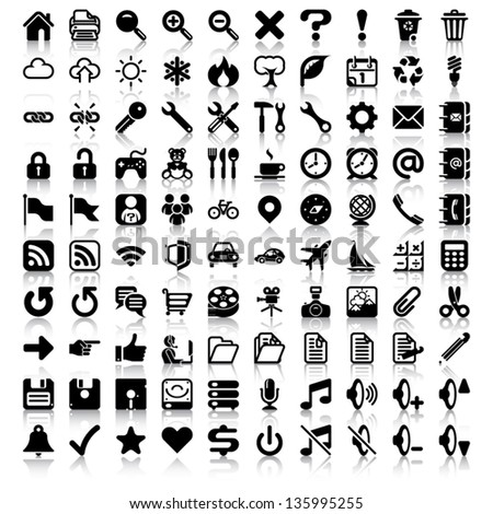 Minimalist Icon Set Set 100 General Stock Vector 135995255