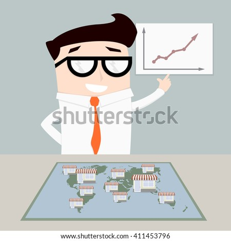 minimalist illustration of a businessman with world map with stores on top, symbol for a franchise system, eps10 vector - stock vector