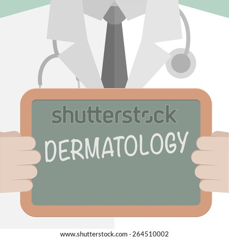 minimalist illustration of a doctor holding a blackboard with Dermatology text, eps10 vector  - stock vector