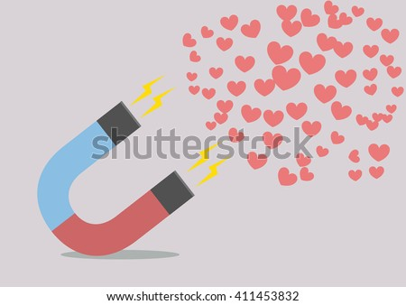 minimalist illustration of a red and blue horseshoe magnet attracting hearts, eps10 vector - stock vector