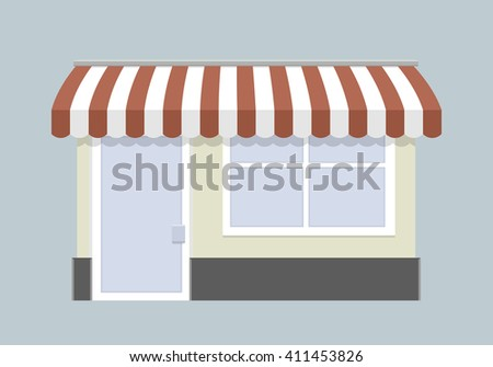 minimalist illustration of a small store front, eps10 vector - stock vector