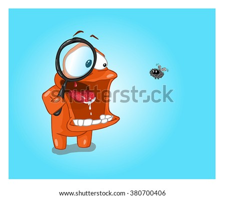 Minimalist vector wallpaper scrutiny of a fly with a magnifying glass. - stock vector