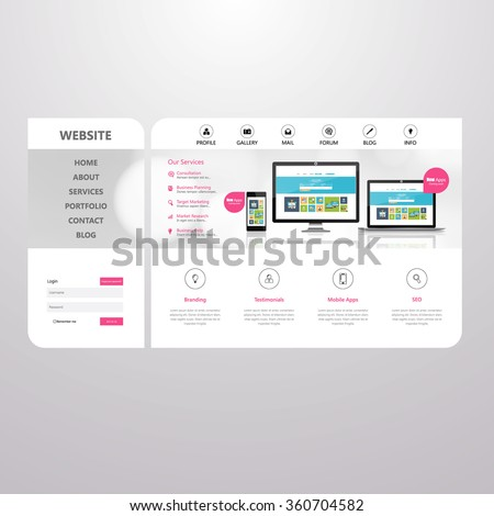 Minimalistic Business website design template. Vector Design.  - stock vector