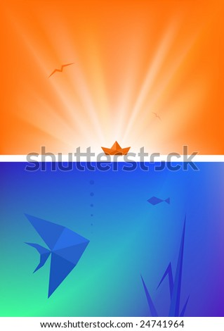 Minimalistic but colorful origami-style backgrounds (set of two). Contains gradient mesh elements - stock vector
