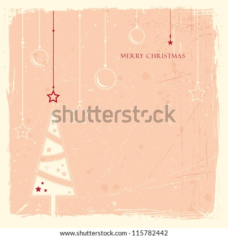 Minimalistic Christmas tree with hanging ornaments pattern on pale rose background with scratches and stains to give it an aged feeling.