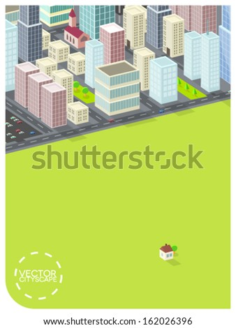 minimalistic cityscape illustration (text and frame easily removable) - stock vector