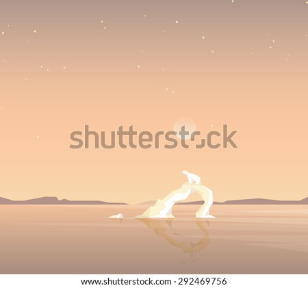 minimalistic contemporary global warming concept vector illustration. Polar bear standing on a melting iceberg formation in the middle of the ocean - stock vector