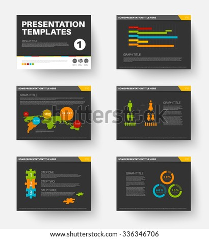 Minimalistic flat design Vector Template for presentation slides part 1, dark version - stock vector