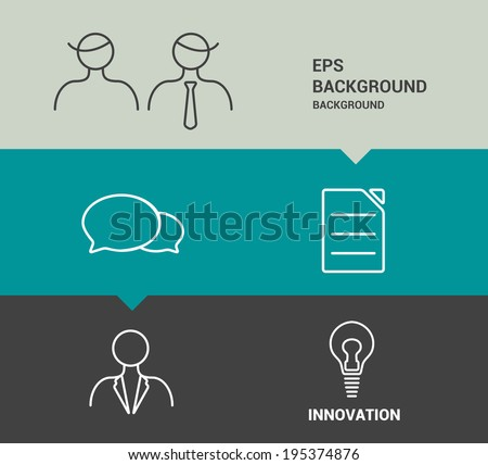 Minimalistic flat tab for infographics. Simply editable futuristic design with stroke icons.  - stock vector
