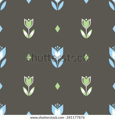 minimalistic flowers seamless pattern   - stock vector