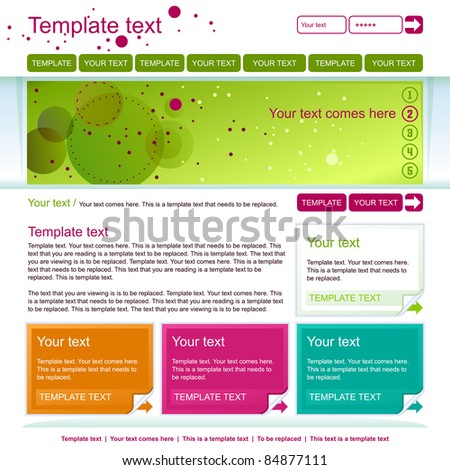 minimalistic green web page layout design - stock vector