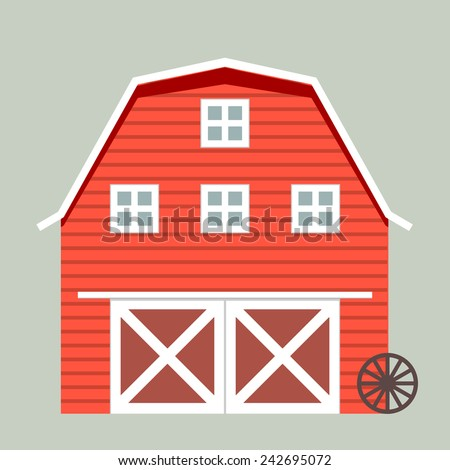 minimalistic illustration of a barn, eps10 vector - stock vector