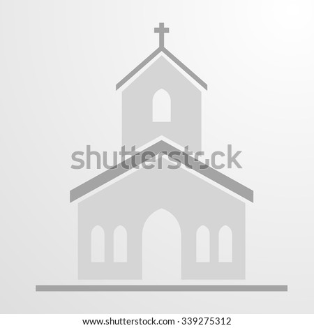 minimalistic illustration of a Church Icon, eps10 vector - stock vector