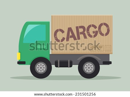 minimalistic illustration of a delivery truck with cargo label, eps10 vector