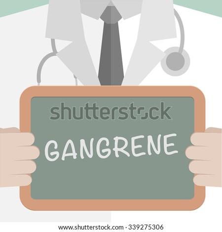 minimalistic illustration of a doctor holding a blackboard with Gangrene text, eps10 vector - stock vector