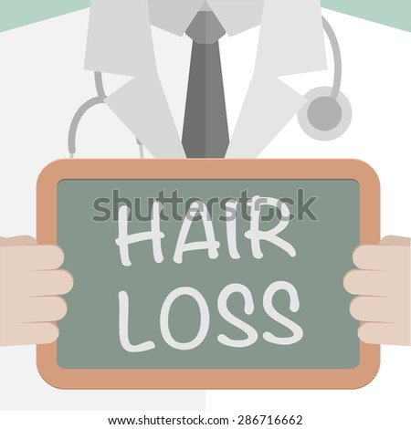 minimalistic illustration of a doctor holding a blackboard with Hair Loss text, eps10 vector - stock vector